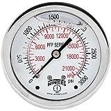 """Winters PFP Series Premium Stainless Steel 304 Dual Scale Liquid Filled Pressure Gauge, 0-3000 psi/kpa, 2-1/2"""" Dial Display, +/-1.5% Accuracy, 1/4"""" NPT Back Mount"""