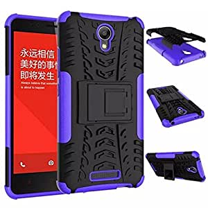 Chevron Kick Stand Spider Hard Dual Rugged Armor Hybrid Bumper Back Case Cover For Xiaomi RedMi Note 2 Prime (Purple)