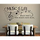 """Music Is Life.. That's Why Our Hearts Have Beats Vinyl Wall Decal Sticker Art (Extra Large 42"""" X 18"""")"""