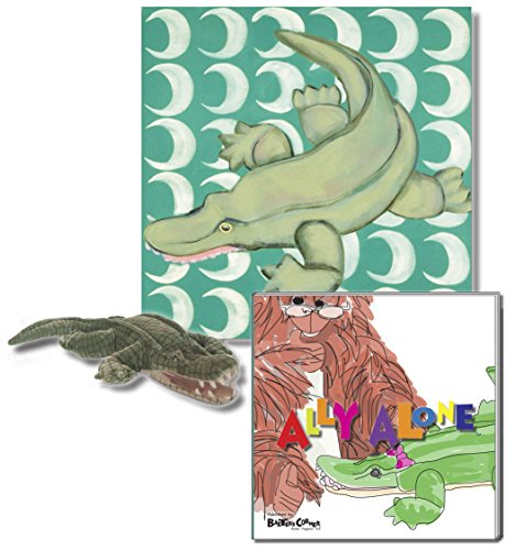 "Ally the Alligator - Premium Gift Set, Includes ""Ally Alone"" Story Book, Folkmanis Puppet, and 18"" X 18"" Canvas Wall Art"