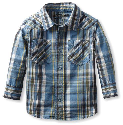 Sprockets Boys 2-7 Schoolyard Plaid Shirt, Lite Blue, 6