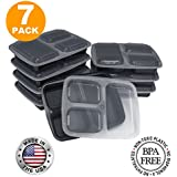 3 Compartment Meal Prep Containers with Lids, Food Storage Lunch Bento Box with Plate Dividers, US Made, 32 oz, Microwave & Dishwasher Safe, Stackable, Reusable, Black [7 Pack]