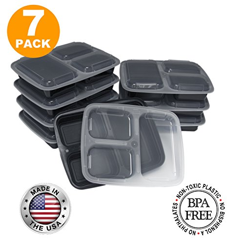 Fit Meal Prep BPA Free Bento Lunch Box with 3 Compartments and Lid, 7-Pack, 32 Ounce, Black (Food Divider compare prices)
