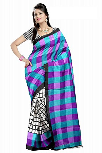 Pick Attire Women's Bhagalpuri Art Silk Saree,With Blouse (PS51-VBK154_Multi-coloured)