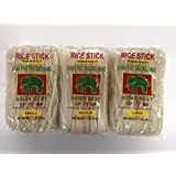 Variety 3-pack: Asian Best Rice Stick Noodles, Small/Medium/Large, 16 Oz. Packages [1 Of Each]