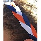 It S Ridic No Slip Grip Non-Slip Sports Athletic Nylon Triple Braided Sports Headband White | Navy Blue | Orange