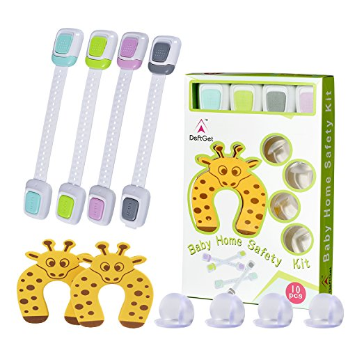 Child Safety Locks Baby Proofing Kit 10 Piece - Adjustable Child Safety Cabinet Locks, Table Edge & Corner Guards,Door Stopper Protector Set - Home Safety Kits Gift by Deftget TM (Shower Glass Door Protector compare prices)