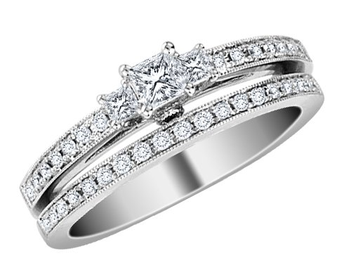 Princess Cut Three-Stone Diamond Engagement Ring &#038; Wedding Band Set 1/2 Carat (ctw) in 14K White Gold (Certified)