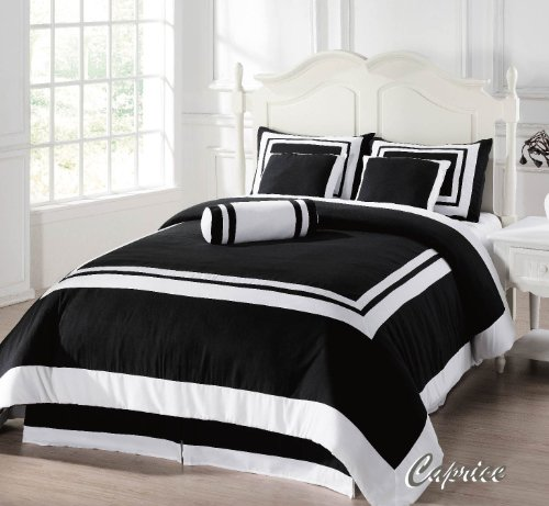 7 pieces caprice black and white hotel comforter bed in a bag set queen size bed. Black Bedroom Furniture Sets. Home Design Ideas