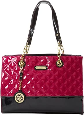 Anne Klein Happy Tweed Small Tote,Mulberry,One Size