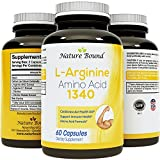 ★ 100% Pure L-arginine ★ Premium Amino Acids Formula for Pre-work Out - Support Nitric Oxide ★ 1000mg Per Capsules - Guaranteed By Nature Bound