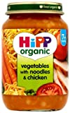 HiPP Organic Stage 2 From 7 Months Vegetables with Noodles and Chicken 6 x 190 g (Pack of 2, Total 12 Jars)