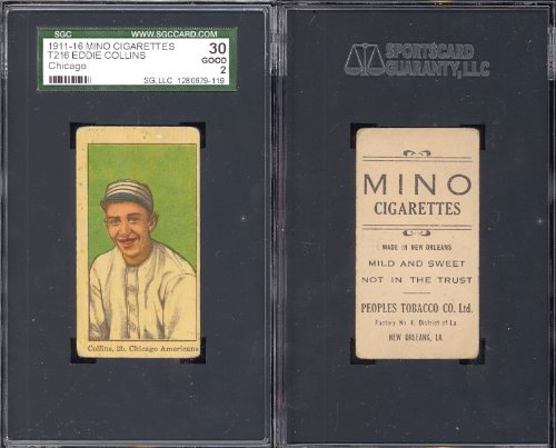 1911 mino cigarettes t216 (Baseball) Card# 19 eddie collins of the Chicago White Sox Good Condition