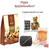 OOSH Rakhi Gift Combos Of Premium California Almonds 250g , 12 X 12 Inch 2 Cusion Covers, Designed Utility Pouch...
