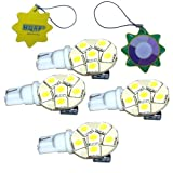 HQRP 4-Pack Side plug T10 Wedge Base 6 LEDs SMD LED Bulb Cool White for #194 #168 Cruiser RV Fun Finder Travel Trailer RV Interior / Ceiling Lights Replacement plus HQRP UV Meter