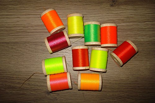 26 Spools Fishing Rod Building Wrapping Winding Thread Size A NEON AND GLOW IN THE DARK 100 Yards BONUS! (Fishing Rod Thread D compare prices)