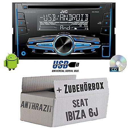 Seat Ibiza 6J 2DIN Anthrazit Schwarz - JVC KW-R520E - 2DIN Autoradio Radio - Einbauset
