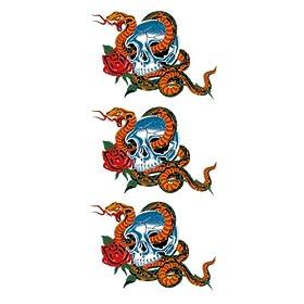 【クリックで詳細表示】祭化粧 R097 3点蛇とドクロ(17.5cm x 10cm) : 服&ファッション小物通販 | Amazon.co.jp