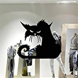 Yanqiao PVC Black Scary Cat with Hidden Bitterness and Resentment in Her Eyes Artistic Design for Halloween Showcase and Party Decor Removable and Waterproof Wall Decal Stickers