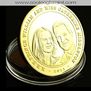 Prince William and Kate Middleton Gold Plated Commemorative Coin