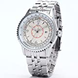 Orkina Mens White Dial Stainless Steel Date Sport Quartz Wrist Watch Gift ORK109
