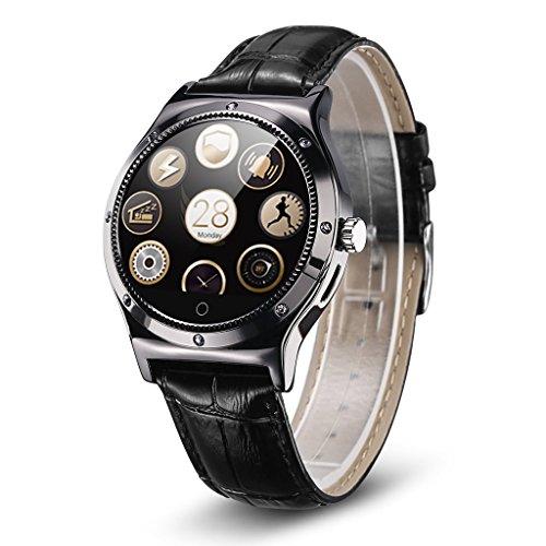 Rwatch R11S - Smartwatch Reloj Inteligente (Correa Adjustable, Pantalla Cristal, Bluetooth, Ritmo Cardiaco, Podómetro, Sincronización con Android IOS), Color negro