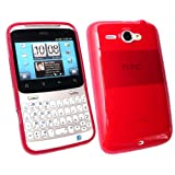 Kit Me Out UK TPU Gel Case for HTC Chacha - Red Frosted Pattern