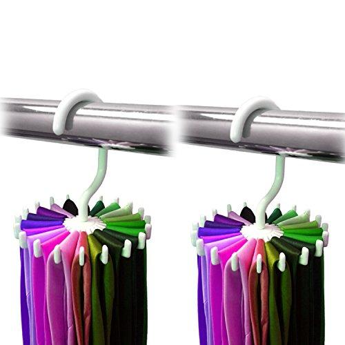 2 Pack Ipow 360 Degree Rotating Twirl Tie Rack Adjustable Tie Belt Scarf Hanger Holder Hook Ties Scarf for Closet Organizer Storage (4.4