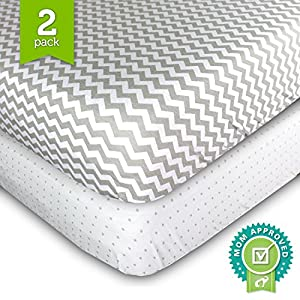 Ziggy Baby Crib Cot Sheets Set - 2 Pack - Fitted, Soft Jersey Cotton Crib Mattress Sheet - Baby Bedding in Grey Chevron & Polka Dot by Ziggy Baby - by Ziggy Baby