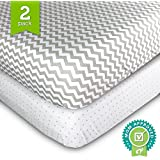 Crib Sheets Set - 2 Pack - Fitted, Soft Jersey Cotton Crib Mattress Sheet - Baby Bedding in Grey Chevron & Polka Dot by Ziggy Baby - Best Baby Shower Gift for Boys, Girls, Unisex