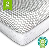 Ziggy Baby Crib Sheet Fitted Jersey Cotton Chevron, Dot, Grey/White, 2 Pack