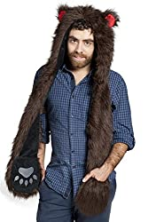 Brown Bear Anime Faux Animal Hood Hoods Mittens Gloves Scarf Spirit Paws Ears for Men
