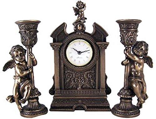 Mantle Clock W Cherub Angel Candleholders Bronze Statue Set Religious Figurines (Bronze Resin Statue compare prices)
