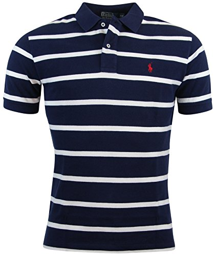 Polo Ralph Lauren Mens Classic Fit Striped Polo Shirt - S - Navy/White