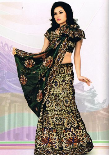 Designer Green Peacock Motif Wedding Dress Lehnga