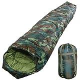 WhiteSeek 寝袋 シュラフ マミー型 【最低使用温度-5℃ 1450g】 (CAMO)