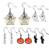 Miraculous Garden 5 pairs Halloween Drop Dangle Earrings Sets Spider Web Pumpkin Ghost Bat Boo Hook Earrings Set for Women Girls (5PCS)