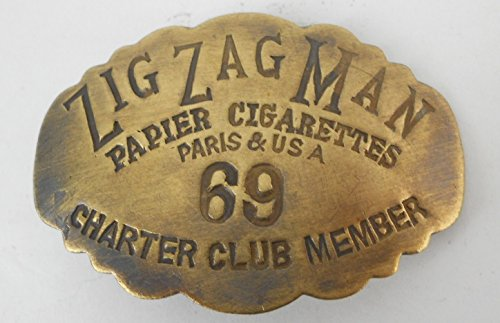 ZIG ZAG MAN BRASS BADGE PIN – CHARTER CLUB MEMBER – ROLLING PAPERS PAPIER CIGARETTES PARIS & USA – ZIGZAG MAKER OF CLASSIC ITEMS SUCH AS THE ULTRA TIN KING SIZE FLAVORED 78 MM CIGAR BLUNT WRAPS WRAPPING MACHINE AND OTHER FINE ACCESSORIES – SHOW YOUR FAVORITE BRAND OR GIVE AS A GIFT