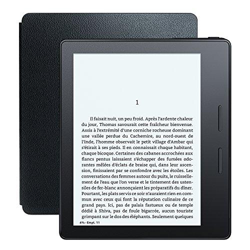 """Liseuse Kindle Oasis avec étui de chargement en cuir noir, Écran Haute Résolution 6"""" (15 cm) 300 ppp avec éclairage intégré et Wi-Fi + 3G gratuite"""