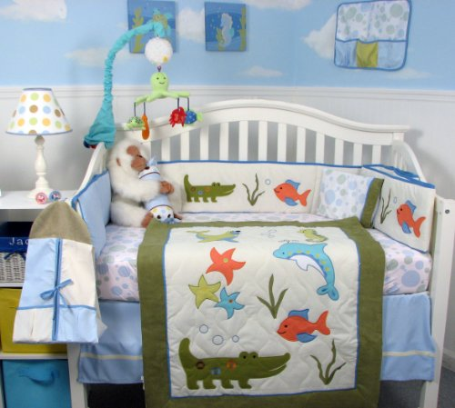 Sea Logoon Nursery Bedding Set 13 pieces included Diaper Bag with Changing Pad & Bottle Case - 1