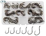 JSHANMEI 150pcs/box 7384 2X Strong Custom Offset Sport Circle Hooks Black High Carbon Steel Octopus Fishing Hooks-Size:#1-5/0
