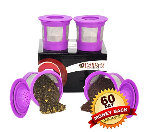 Delibru 4Pack Reusable K-Cups Refillable universal KCup for Keurig 2.0 & 1.0 Machines. Reusable kcup, k cup reusable filter, keurig coffee filters, Compatible With Keurig Brewers. (Keurig 20 Reusable Filter compare prices)