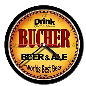 BUCHER beer and ale cerveza wall clock