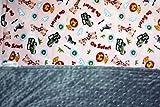 Minky Blanket Safari Print Animal and Kid's Jeep Wrangler Blanket with Grey Dimple Dot