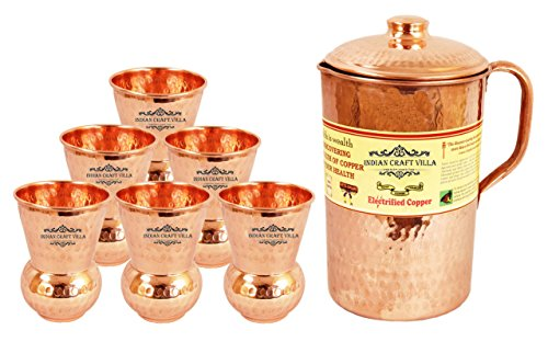 Indian Craft Villa Handmade 100 Pure Copper Hammered Jug Pitcher Pot Volume 21 Liter With 1 Glass Cup 375 Ml