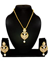 KAAYRA Designer Pearl And Diamond Necklace Set / Pendant Set With Chain And Earring For Girls And Women