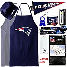 NFL New England Patriots Apron (1-count) + Pennants (1-Count) + Party Cover (1-count) + Lanyard (1-count) + HappyFace Keychain (1-count) +Deluxe Pen (1-count) + Office Note Cube (1-count) , Set