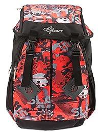 GLEAM Trendy Multicolour School Bag With Hood Pocket ( Red & Black )