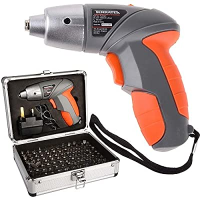 Terratek Lithium Ion 3.6V Cordless screwdriver complete with 102 piece accessory kit