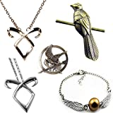 [Pack of 5: 2*necklace + 1*Bracelet + 2*Pin] CuteEdison The Hunger Games Mockingjay Prop Rep Pin Bronze + Harry Potter Silver Plated Double Wings Golden Snitch Bracelet + The Mortal Instruments City of Bones Isabelle Necklace Silver & Gold + Game of Thro